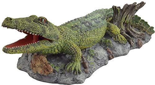 Supa Décoration d'aquarium en Forme de Crocodile fonctionnant à l'air - Détails réalistes - Environ 9,5 x 22,5 x 5,5 cm