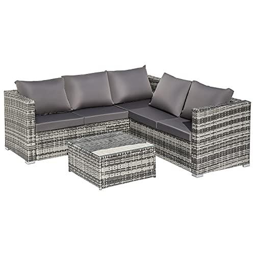Foxorex - Set di mobili da giardino in rattan, divano ad angolo, tavolino da caffè, mobili da giardino