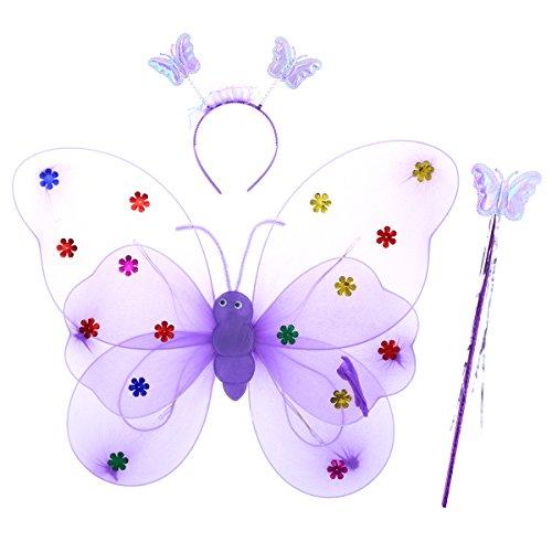 TOYMYTOY Disfraz Hada Mariposa Niña Alas de Mariposa Varita Diadema 3 Piezas (Púrpura)