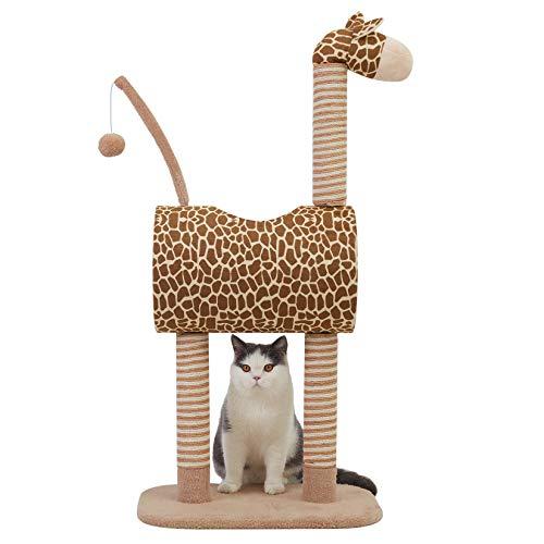 BingoPaw Tiragraffi giraffa, unico albero tiragraffi per gatti con caviglia, piattaforme di visualizzazione e palla da gioco, albero per gatti per interni e gatti, altezza 99 cm
