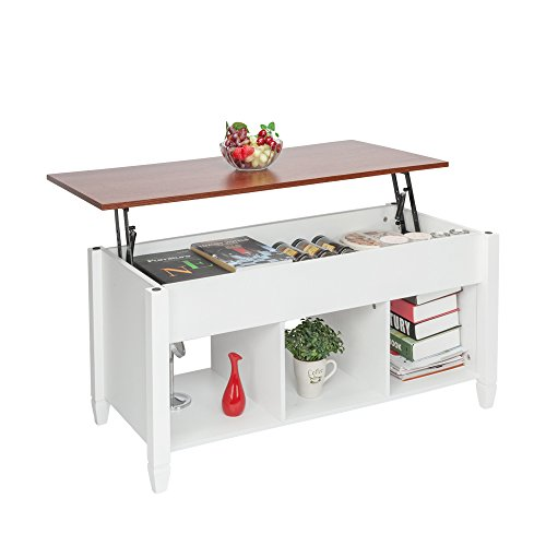 HomVent Lift Top Coffee Table,Wood & Metal End Table,Hidden Storage and Lift Tabletop Dining Table,Computer Table,Side Table,Living Room Furniture Tea Table E1 Board & Iron Modern Furniture Black