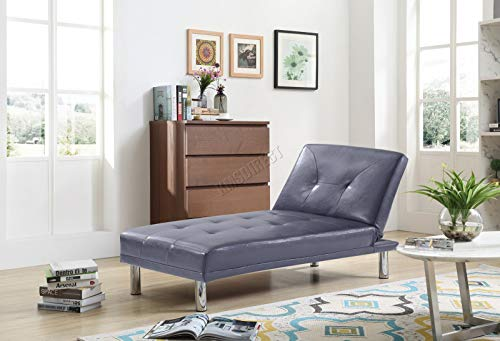 WestWood Modern Luxury Chaise Longue Single Sofa Bed 1 Seater Couch Small Guest Sleeper Convertible Chair Faux Leather Living Room Furniture PSB03 Grey