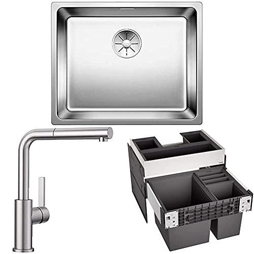 BLANCO ANDANO 500-IF 522965 - Fregadero de cocina para instalación normal,acero inoxidable y Grifo mezclador de cocina, acero inoxidable y sistema de separación de basura, color negro