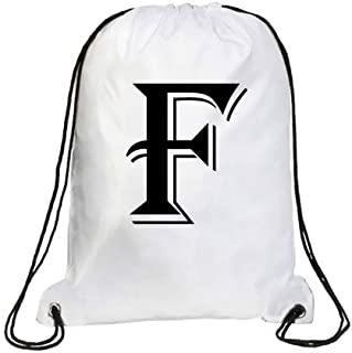 IMPRESS Drawstring Sports Backpack White with Algerian Letter F