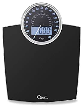 Ozeri Rev 400 lbs  180 kg  Bathroom Scale with Electro-Mechanical Weight Dial and 50 gram Sensor Technology  0.1 lbs / 0.05 kg  Black