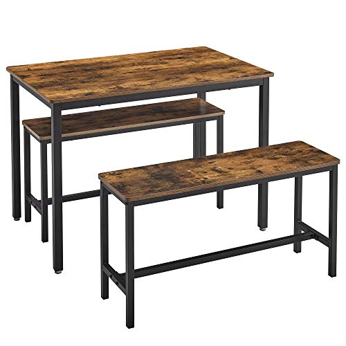 VASAGLE Dining Table Set with 2 Benches, 3 Pieces Set, Kitchen Table of 43.3 x 27.6 x 29.5 Inches, Bench of 38.2 x 11.8 x 19.7 Inches Each, Industrial Design, Rustic Brown and Black UKDT070B01
