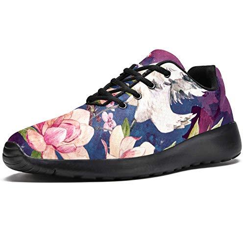 TIZORAX Laufschuhe für Herren, flying Crane On Cherry, modische Sneakers, Netzstoff, atmungsaktiv, Wandern, Tennis, Größe 4,5, Mehrfarbig - mehrfarbig - Größe: 44 EU