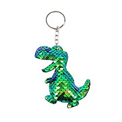 7. QTKJ Cute Reversible Mermaid Glitter Pompom Sequins Dinosaur Keychain