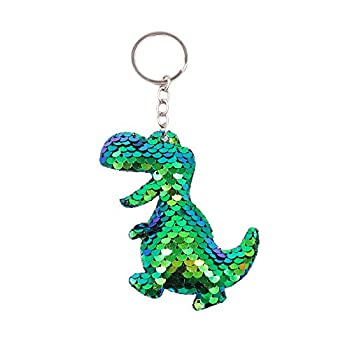 QTKJ Cute Reversible Mermaid Glitter Pompom Sequins Dinosaur Keychain