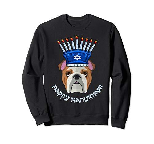 Bulldog Menorah Hat Sweatshirt Hanukkah Chanukah Gift