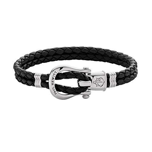 PAUL HEWITT Schäkel Armband Damen PHINITY - Leder Armband Frauen (Schwarz), Armband Damen mit Schäkel Verschluss aus Edelstahl (Silber)