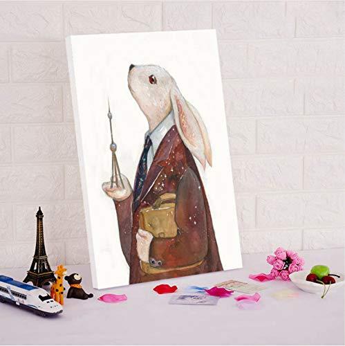 DIRART Frameless Digitale Schilderij Leuke Cartoon Dieren Diy Olie Schilderijen Digitale Verf Door Nummers Kleurplaten Door Nummers Mole Flamingo 40X60Cm