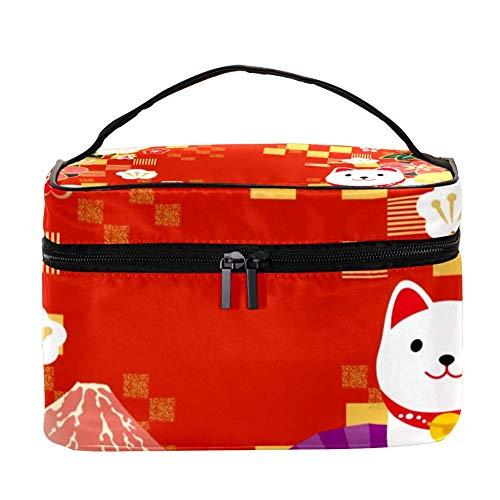 TIZORAX New Year Card Cosmetic Bag Travel Toiletry Case Large Makeup Organizer Box