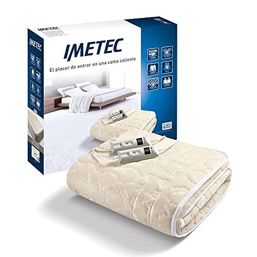 Imetec Relaxy Calientacamas Matrimonial, 2 Mandos con 2 Niveles de Temperaturas, Tejido Acolchado, Lavable a Mano y en Lavadora a 40°, Sistema de Protección, 150 x 137 cm