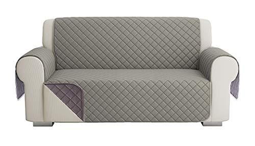 Fundas para Sofa Acolchado, Funda De Sofas 2 Plazas (120 CM), Cubre Sofa Reversible Bicolor, Gris / Gris Oscuro