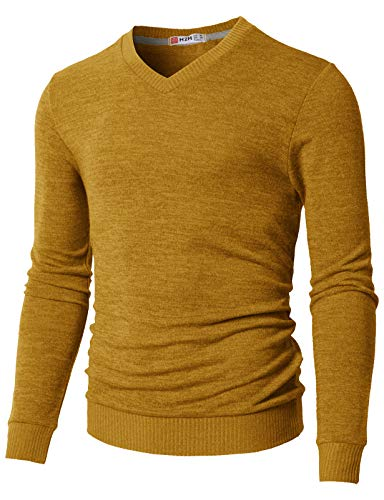 H2H Men's Slim Fit V-Neck Sweater Mustard US M/Asia L (CMOSWL018)