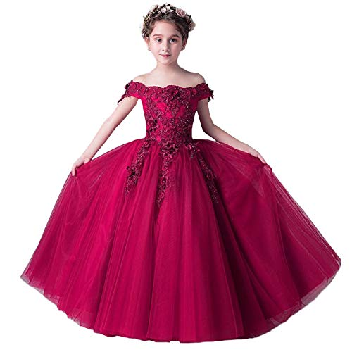 Little Girls Off Shoulder Lace Beaded Formal Wedding Party Princess Gown Pageant Communion Flower Girls Dress Burgundy 9-10 Years