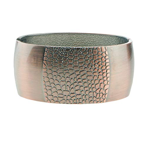 UJOY Vintage Engraved Cuff Bracelet Golden Hinge Jewelry Box Spring Clasp Wide Bangle for Gifts 7704 Bronze