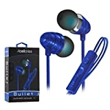 Ultra Acellories Bullets Superior Fabric W Built-in Mic High Performance Earbuds for iPhone Samsung Android HTC LG Pixel (Blue)