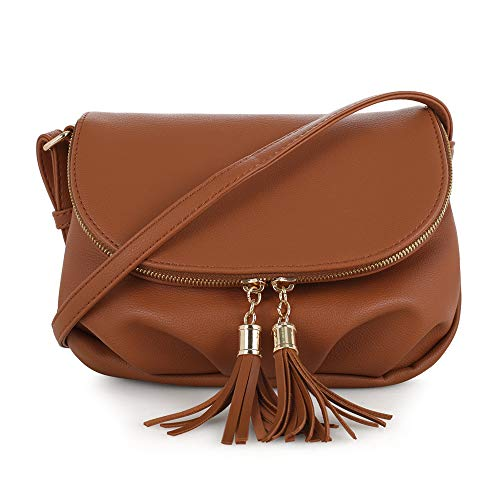 EMPERIA Savanna Small Vegan Faux Leather Front Flap Crossbody Bags Shoulder Bag Messenger Bag Purse Handbags for Women Tan