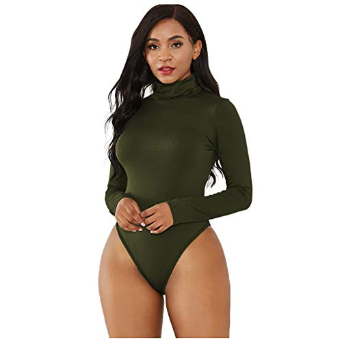 Top for Women Fashion 2020 Turtleneck Long Sleeve Bodysuit Leotard Top Blouse Jumpsuit Romper 4th of July, Blouses of Short Sleeve Onsale Army Green XL