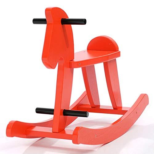 LINGZHIGAN en Bois Massif Rocking Cheval de Troie for Enfants Seat Rocking Horse Baby Toy (Color : Red)