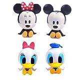 qinhuang 4 Unids / Set Figuras De Anime Mickey Mouse Minnie Donald Duck Action, Lindos Juguetes De Dibujos Animados para Niños Regalo De Cumpleaños para Niños