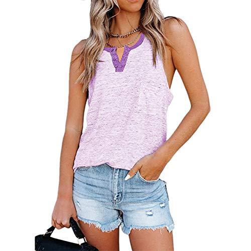 HYYP Camiseta sin mangas con cuello en V para mujer, de verano, acanalada, sin mangas, casual, con botones, camiseta de punto, transpirable y cómodo, color púrpura-S