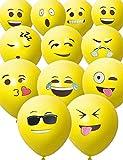 HomeTools.eu® - 33 Stück Smiley Luft-Ballons, lustige freche Smily Emoji Gesichter aufblasbar...