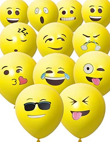 HomeTools.eu® - 33 Stück Smiley Luft-Ballons, lustige freche Smily Emoji Gesichter aufblasbar 30cm, Deko Party Fasching Hochzeit Kinder-Geburtstag, gelb 33er Pack