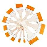 XUBX Juego de 12 Pinceles acrílicos para Pintura al óleo, Pinceles de Pintura, brochas de Pintura, Pinceles Planos, Madera Cepillo de Pintura Set, Pinceles para Paredes, Pincel para Aceite, Acuarela