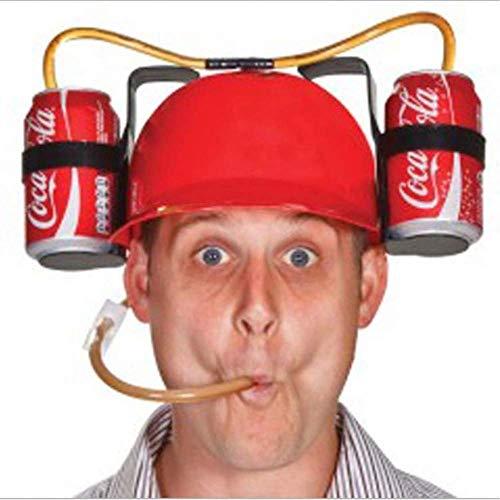 カップホルダー ストロー付き ビール ソーダ ビール飲む帽子 創造なギフト ユニークなハット ビールオーナメント ビールヘルメット レッド 2缶 パーティー バー ゲームに最適 ビール ソーダ