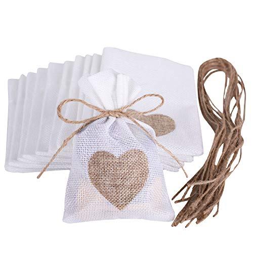 Wolfteeth 24 pz 14 x 10 cm Sacchetti Iuta Lino Regalo Caramella portaconfetti Bustine per Battesimo Matrimonio Confetti Gioielli –Jute Cuore 782204