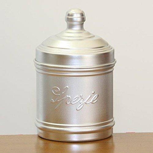ITALO OTTINETTI Dull Aluminum Storage Canister, Tinta Unita o con Scritta 9cm spezie, in Alluminio, Metallico, Taglia Unica