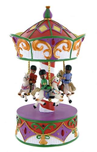 Lutèce Créations Boîte à Musique animée en Forme de carrousel Musical Miniature en résine avec Petits Soldats (Réf: 15045) - Le Beau Danube Bleu (J. Strauss)
