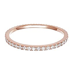 Finest AAAAA Quality Gem Grade Cubic Zirconia Stacking Ring - 1.25mm CZ / Width Premium quality fashion Ring crafted in Hypoallergenic Sterling Silver then plated with 14K Rose Gold. &#10100&#10022 THE PERFECT CHISTMAS GIFT &#10022&#10101 Whether its...