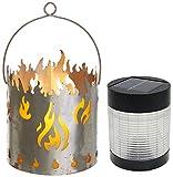 Novaliv Gartenlaterne Feuer mit Solarlampe LED Laterne Rost Metall Feuerschale
