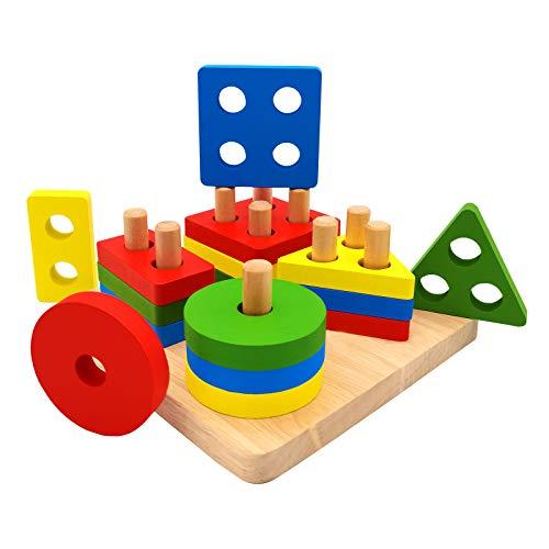 Euyecety Holzpuzzle Sortier Stapelspielzeug Lernspielzeug, Montessori Kinderspielzeug für 2 3 4 Jahre, Farberkennung Geometrisches Entwicklungs Sensorisches Spielzeug Klassisches Steckspielzeug