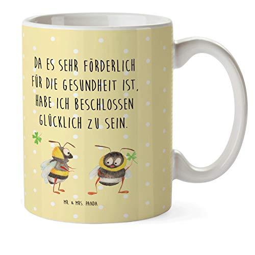 Mr. & Mrs. Panda Kaffeetasse, Tasse, Kindertasse Hummeln mit Kleeblatt mit Spruch - Farbe Gelb Pastell