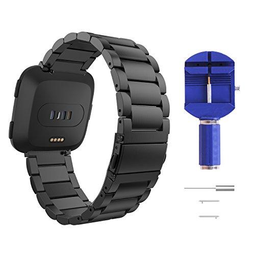 MoKo Armband für Fitbit Versa/Versa 2/Versa Lite Edition/Versa Special Edition, verstellbar Edelstahl uhrenarmband ersatzarmband Handgelenk Strap Band mit Werkzeug, Schwarz