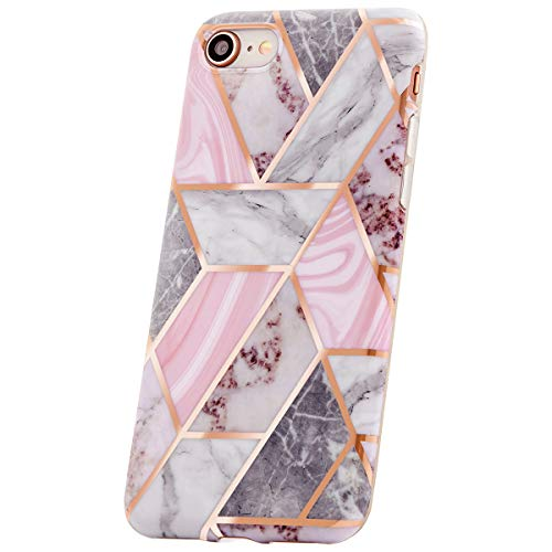 QULT Handyhülle kompatibel mit iPhone XS Max Hülle Marmor Rosa dünn Silikon Schutzhülle TPU Bumper Case für iPhone XS Max Glitzer Cube Pink Marble