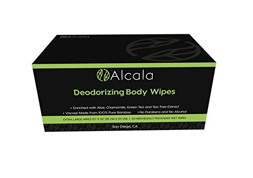 Alcala Deodorizing Body Wipes 100% Pure Bamboo with Tea Tree Oil, Individually Wrapped Biodegradable Shower Wipes, Extra Large 10 x10 inches (330 Count)