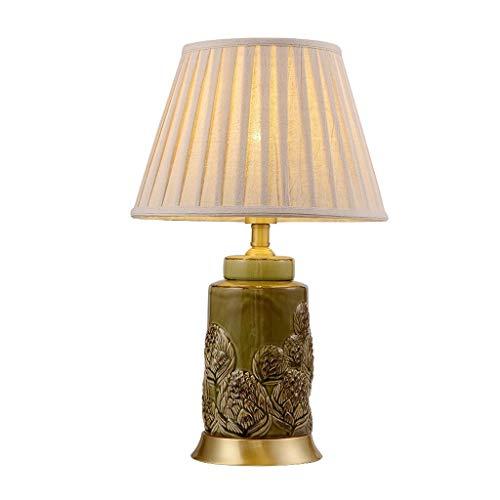 Lfixhssf klassieke sculptuur groen keramiek tafeldecoratie lamp dimmen slaapkamer romantische bedlampje plissé stof schaduw luxe vintage hotel Villa E27 LED Light Desk Lfixhssf