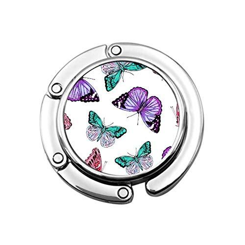 Flor floreciente Mariposa Belleza Mesa Colgador de Monedero Colgador de Bolso Oficina Sección Plegable Almacenamiento Colgador de Monedero múltiple