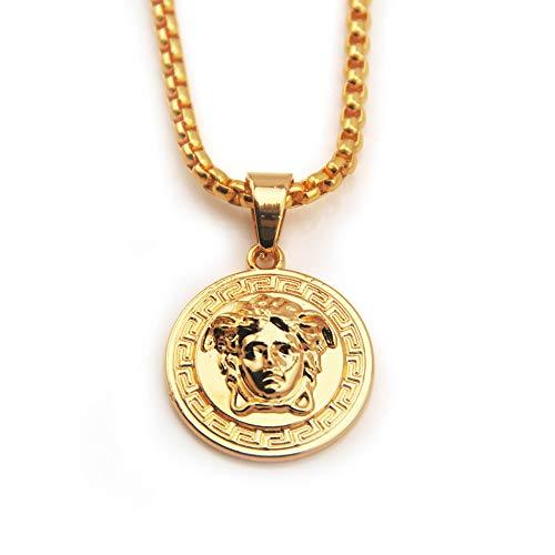 2ST Herren 14K Reales Gold Überzogene 3D Medusa Anhänger Halskette Mit Free-Seil-Ketten