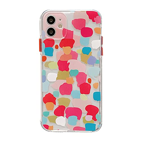 DEIOKL Estuches para teléfono con Pulsera de Graffiti Moteado para iPhone 12 11 Pro MAX X XS XR 7 8 Plus 12mini Carcasa Trasera Suave con Cadena Colorida, Estuche B, para iPhone 12mini