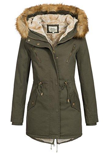 Softy Outerwear Damen Winter Parka 50171134, Winterjacke 100% Baumwolle mit Teddyfutter, Kapuze & Webpelz, Fishtail, Storm Cuffs, Khaki, Gr:M