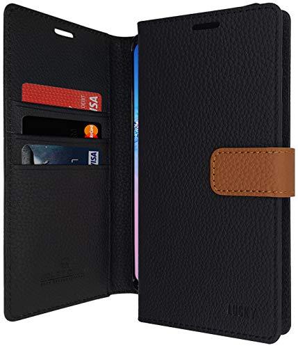 Qoosan LG Q7 Leder Wallet Hülle, LG Q7 Plus Hülle, Stand Flip Cover mit Kartenhalter, Schwarz