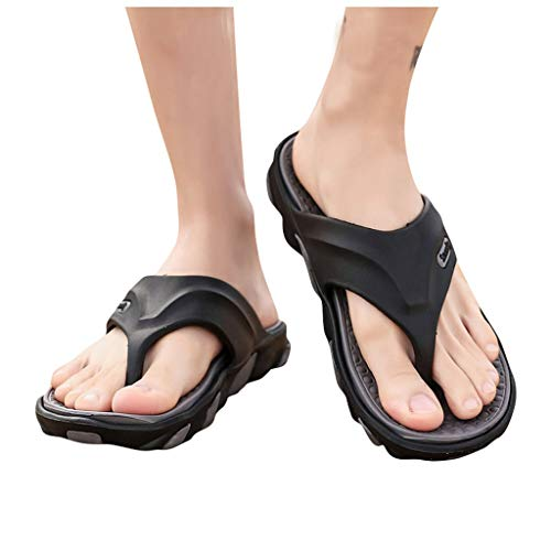 Mens Thong Flip Flops Summer Beach Pool Sandals with Arch Support Massage Sole Anti Skid Slipper Bath Shoes (Gray 01, US:9.5-10)