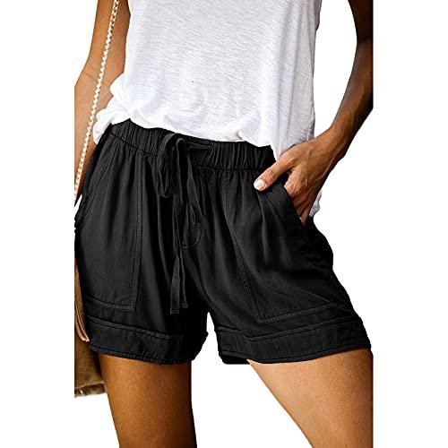 Pantalones Cortos Casuales De Mujer Pantalones Cortos De Color SLido De Pierna Ancha Pantalones Cortos De Banda ElStica De Verano